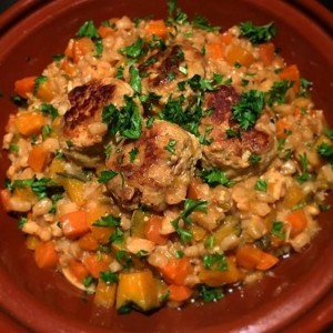 pumpkin and carrot barley risotto